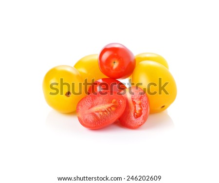 yellow and red tomatoes isolated on white