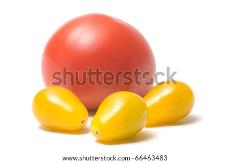 Yellow and red tomatoes isolated on white background.