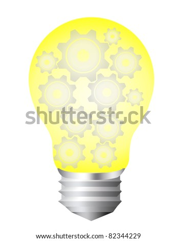 yellow and silver bulb electric with gray gears isolated over white background - stock photo