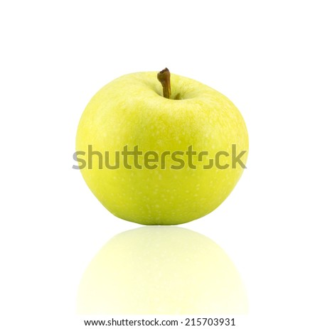 Yellow apple fruit with shadow isolate on white