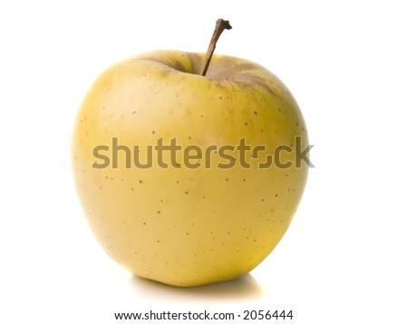 Yellow apple isolated on white - stock photo
