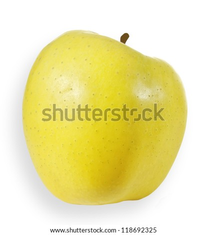 Yellow apple isolated on white surface.