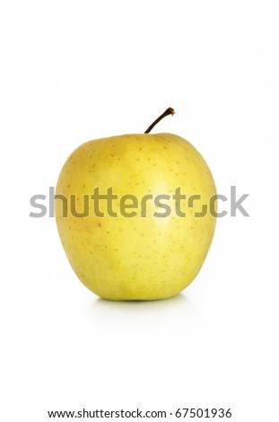 yellow apple on white background - stock photo