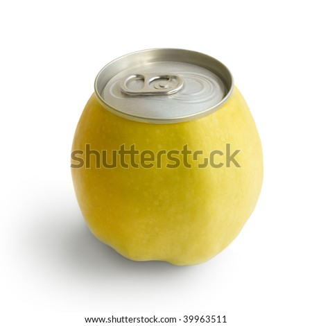 Yellow apple with metallic can isolated on white background