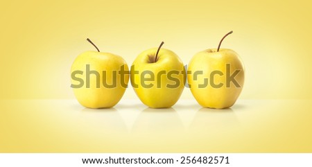 yellow apples isolated on a colored background - stock photo