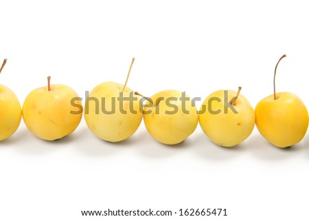 yellow apples, isolated on white background - stock photo