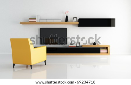 yellow armchair in a minimalist living room with flat tv - rendering - stock photo
