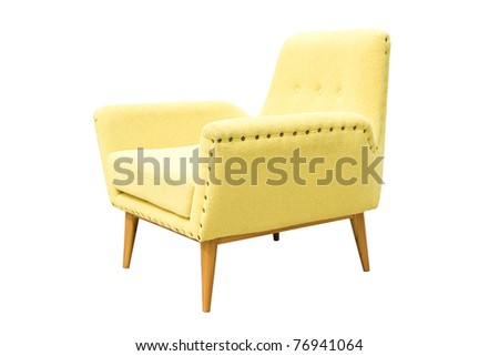 yellow armchair on a white background - stock photo