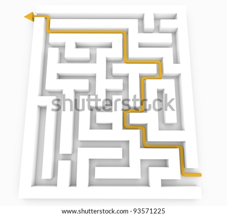 yellow Arrow and Maze puzzle isolated on white.
