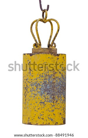 Yellow asian temple bell on white background