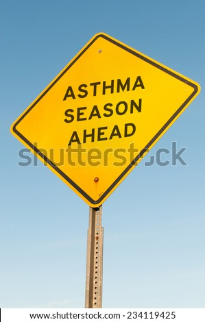 Yellow asthma season ahead highway road sign
