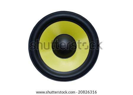 Yellow audio speaker isolated on white background. - stock photo