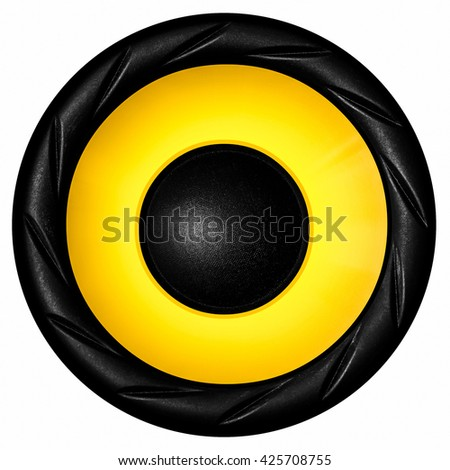 Yellow audio speaker isolated on white background - stock photo