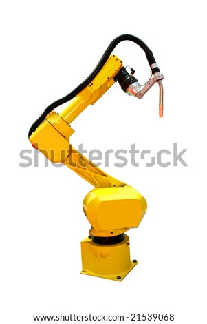 Yellow automatic robot welder for metal industry - stock photo
