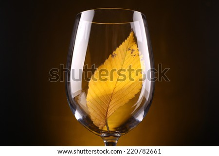 Yellow autumn leaf in a tall wine glass over a warm dark background - stock photo