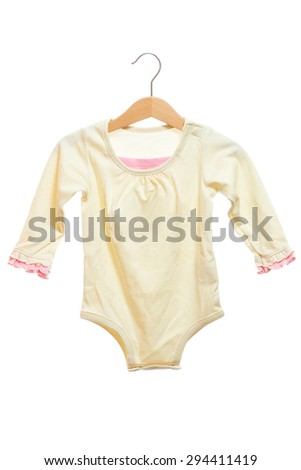 Yellow baby clothes bodysuit front view in clothes hanger, isolated on white background. - stock photo