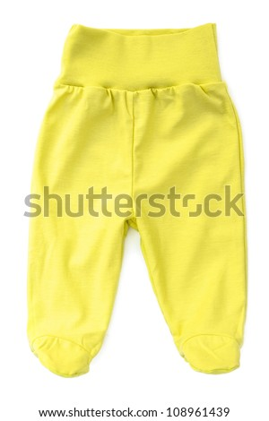 Yellow baby trousers isolated on white background - stock photo