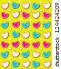 Yellow background has 3D hearts surrounded by tiny, cream colored pearls.  White polka dots are outlined in blue and pink. - stock photo