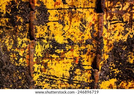 yellow background metal sheet - stock photo