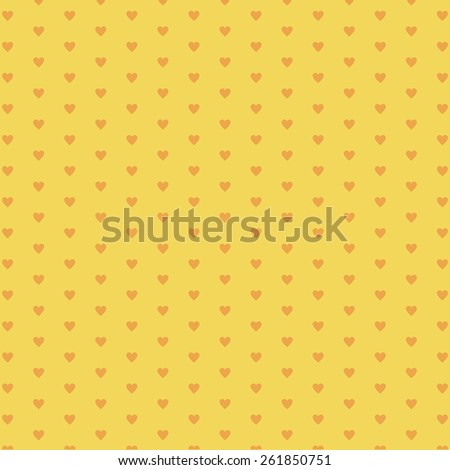 Yellow Background retro with red hearts. Background for Valentine Day, wedding, birthday cards and party invitations, photo albums, web sites in Retro style. Baby card shower invitation. Packing.
