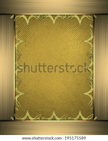 Yellow background with a decorative gold frame with patterns on the edges
