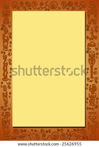 Yellow Background Redbrown Border Plastic African Stock Illustration