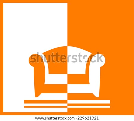 yellow background with armchair for room or office interior - stock photo