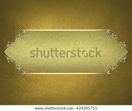 Yellow background with golden plate. Template for design. copy space for ad brochure or announcement invitation, abstract background.