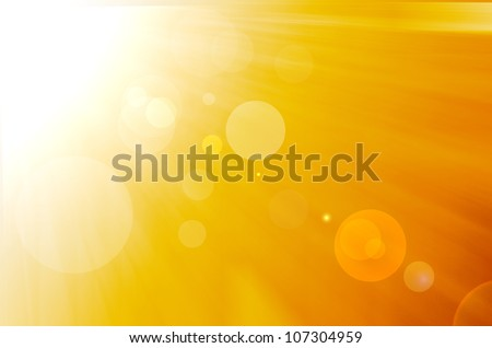 yellow background with warm sun and lens flare - stock photo