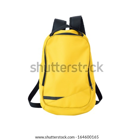 Yellow backpack isolated on white background w/ path - stock photo