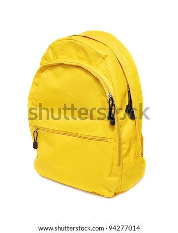 yellow backpack on white background - stock photo