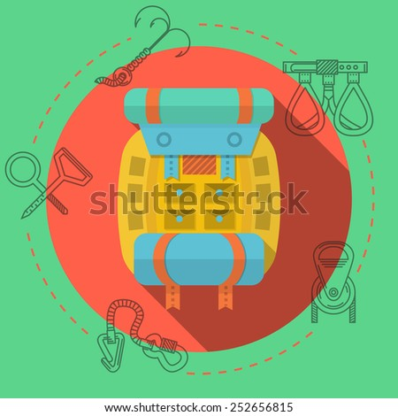 Yellow backpack with blue tent and hiking mat on red icon with black contour outfit elements around. Flat color illustration for rock climbing on green background.  - stock photo
