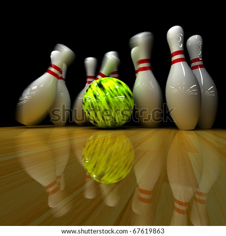 Yellow ball does strike! Physically correct simulation of swirling strike in bowling with the real 3D motion blur on - stock photo