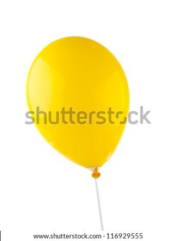 yellow balloon isolated on white background - stock photo
