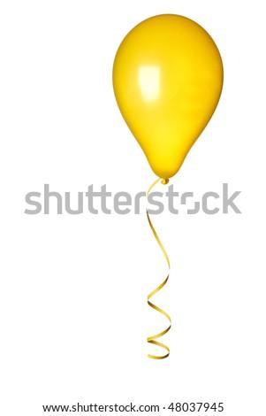 yellow balloon on white background - stock photo