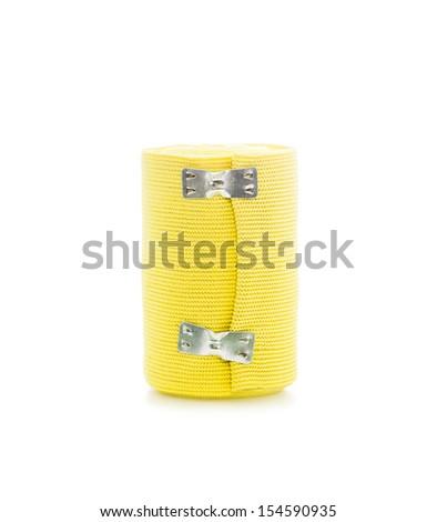 Yellow bandage on white background. - stock photo