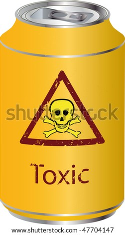 Yellow bank with a toxic waste - stock photo