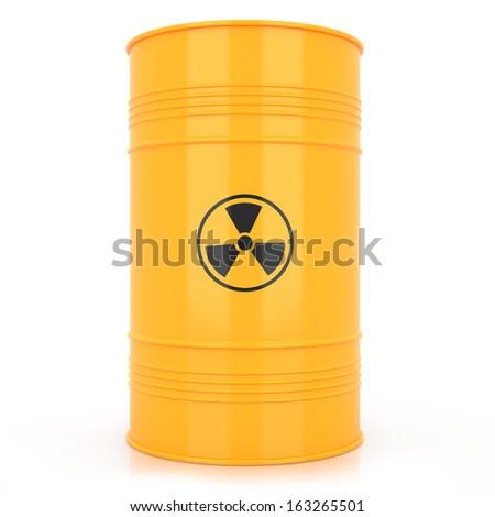 Yellow barrel with radioactive waste - stock photo