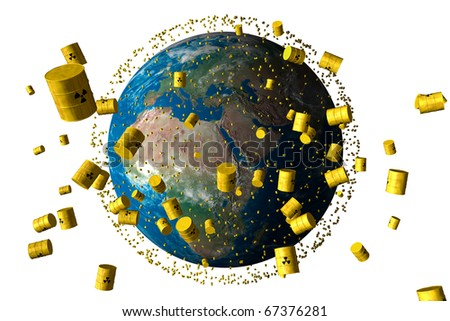 yellow barrels of nuclear waste orbit the planet earth - stock photo