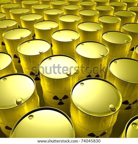 yellow barrels with radioactive trash - stock photo