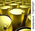 yellow barrels with toxic trash - stock photo