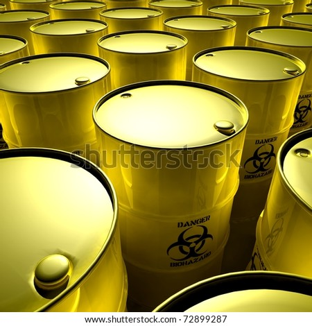 yellow barrels with toxic trash