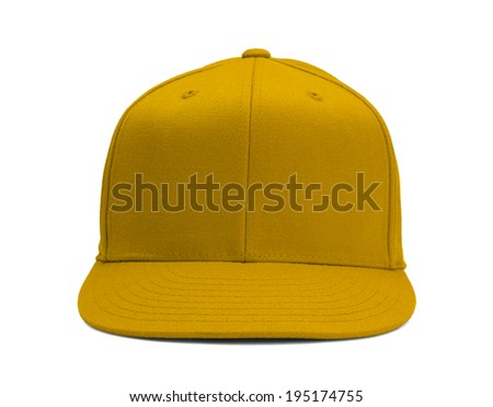 Yellow Baseball Hat Front View With Copy Space Isolated on White Background. - stock photo