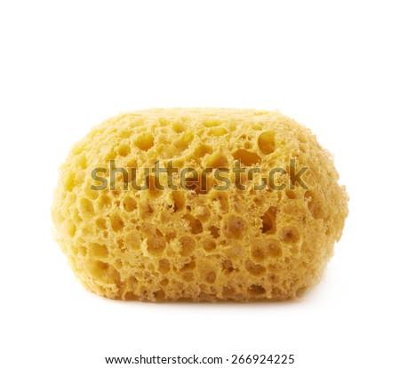 Yellow bathing sponge isolated over the white background - stock photo