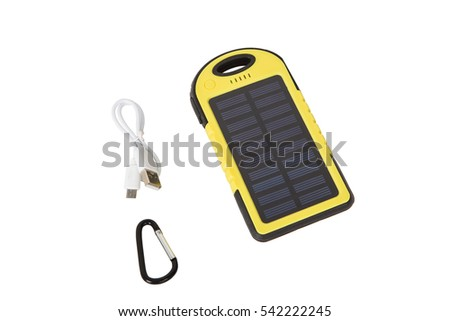 yellow battery bank on white background