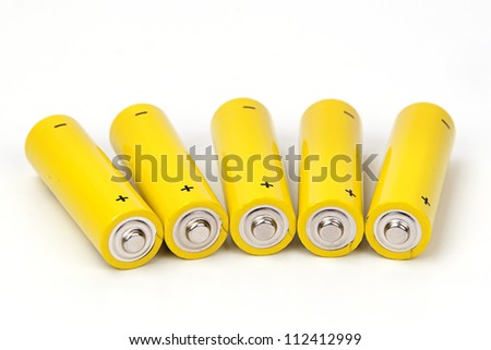 Yellow battery isolated on white background