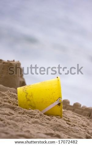 Yellow Beach Pail - stock photo