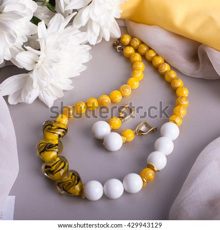 Yellow beads on the table