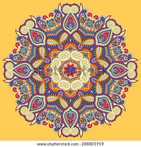 yellow beautiful vintage circular pattern of arabesques, floral round raster version illustration - stock photo