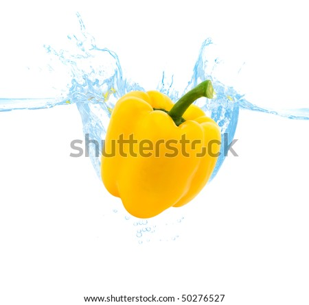 yellow bell pepper thrown into the water